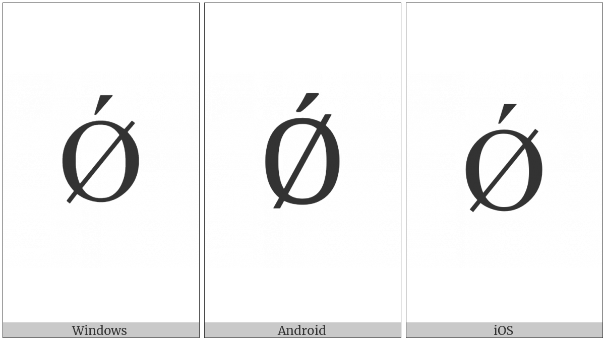 Latin Capital Letter O With Stroke And Acute on various operating systems