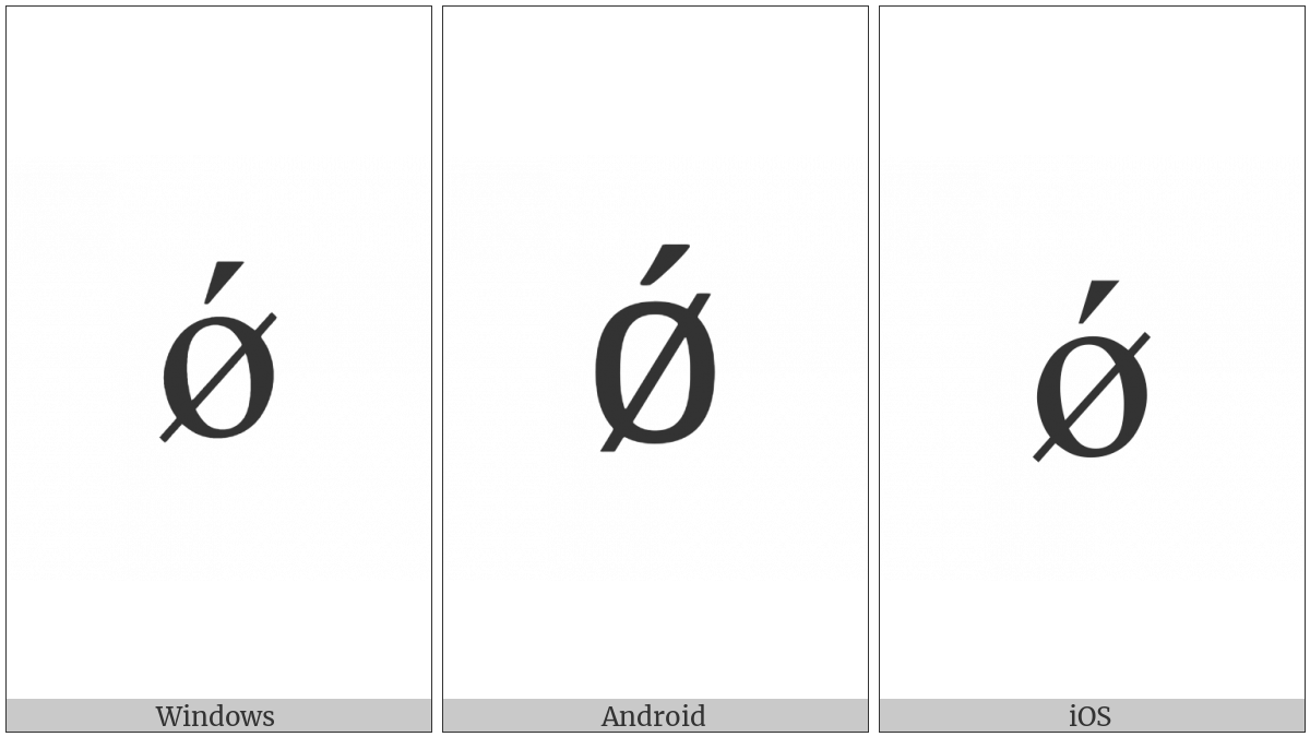 Latin Small Letter O With Stroke And Acute on various operating systems