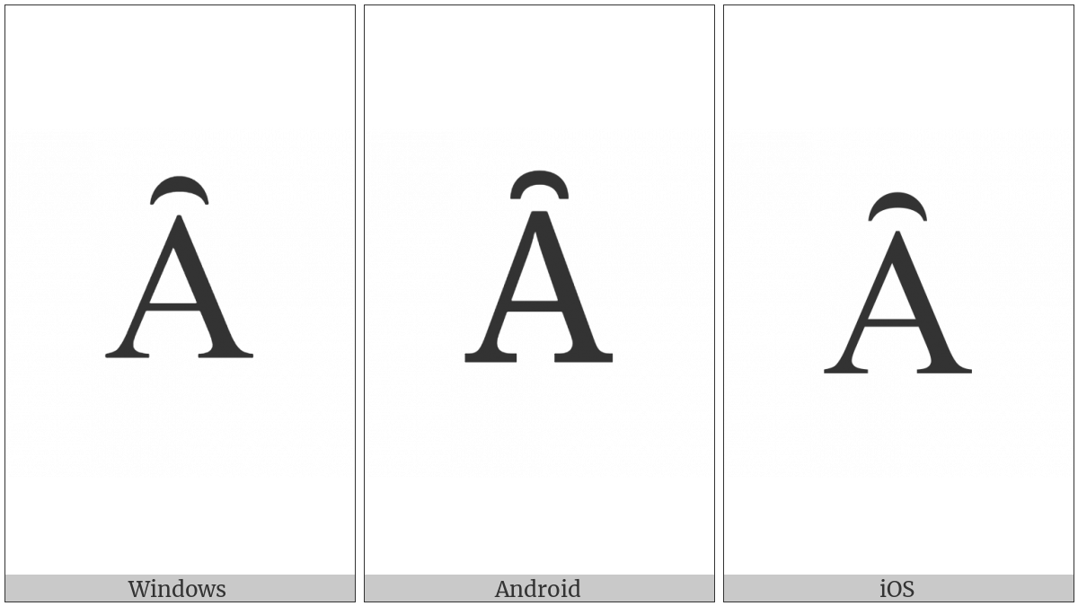 Latin Capital Letter A With Inverted Breve on various operating systems