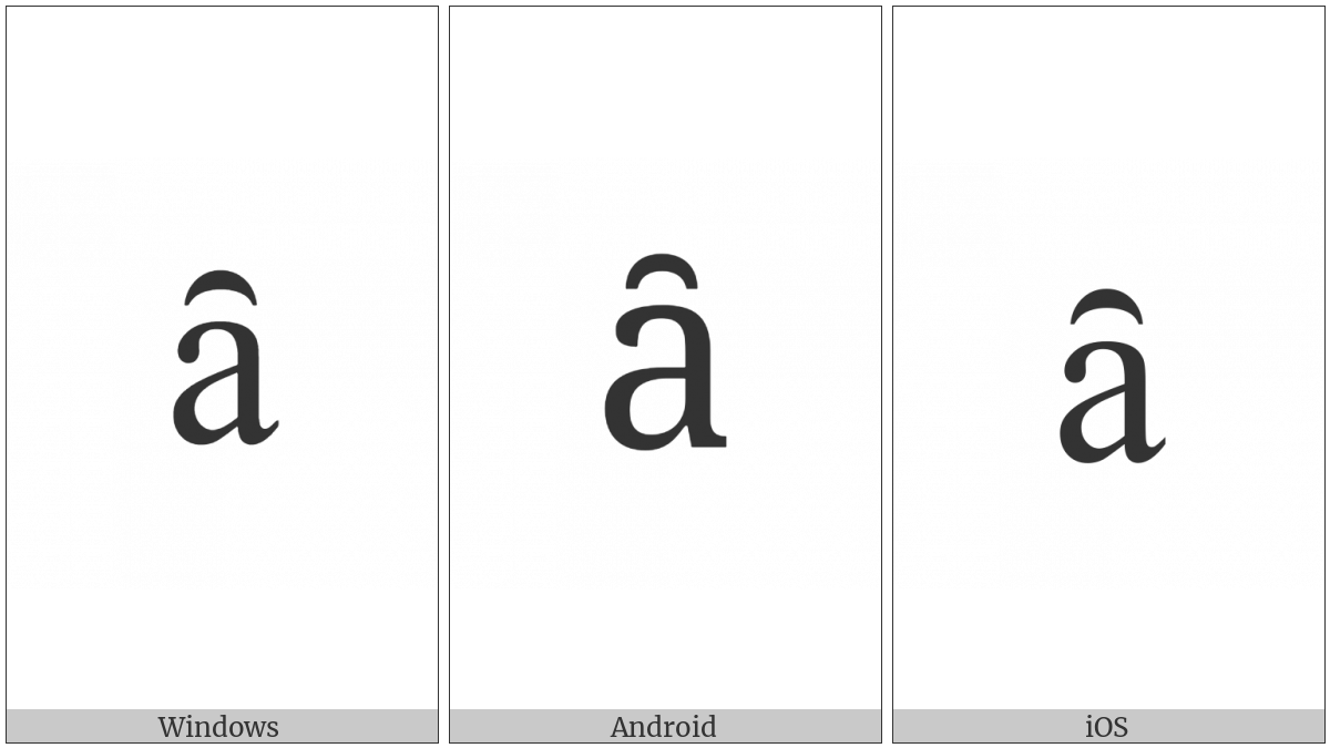 Latin Small Letter A With Inverted Breve on various operating systems