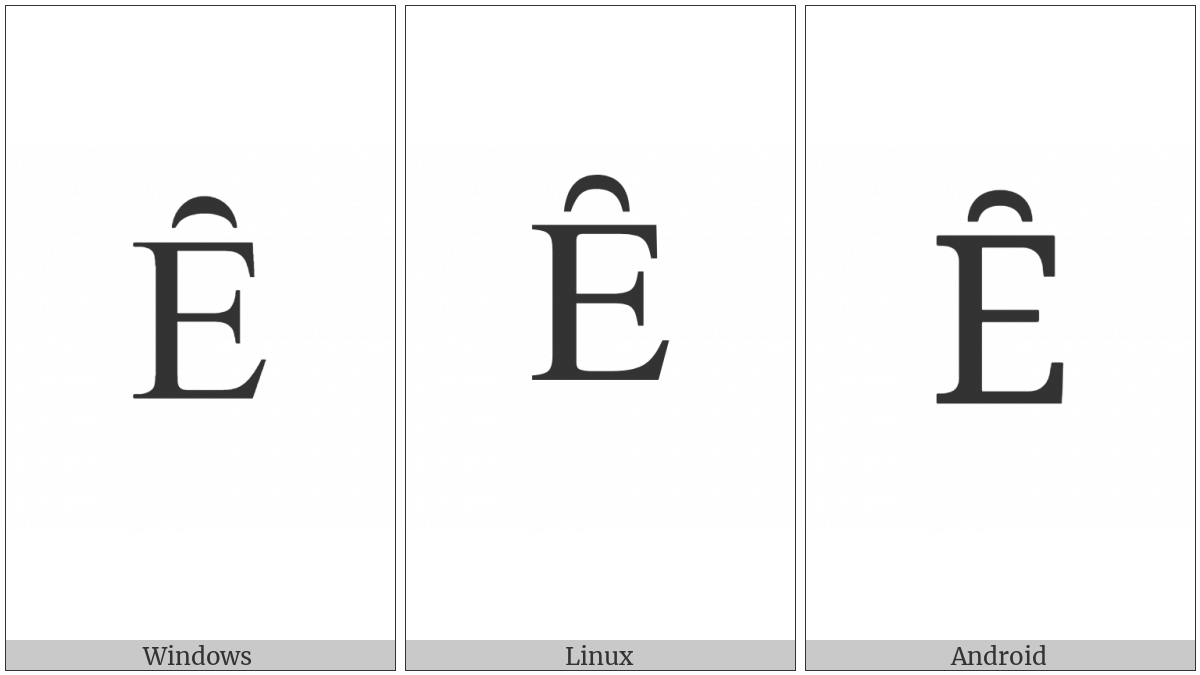 Latin Capital Letter E With Inverted Breve on various operating systems