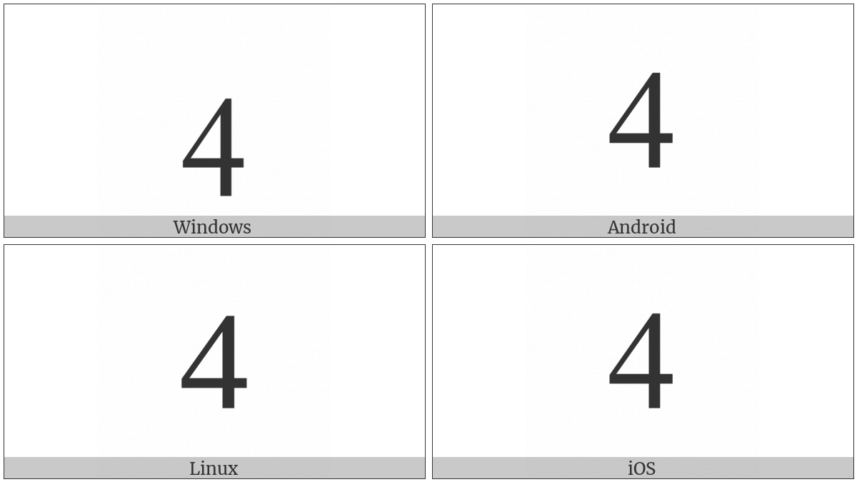 DIGIT FOUR utf-8 character