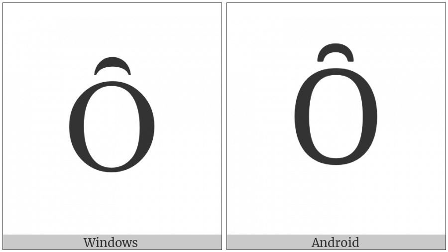Latin Capital Letter O With Inverted Breve on various operating systems