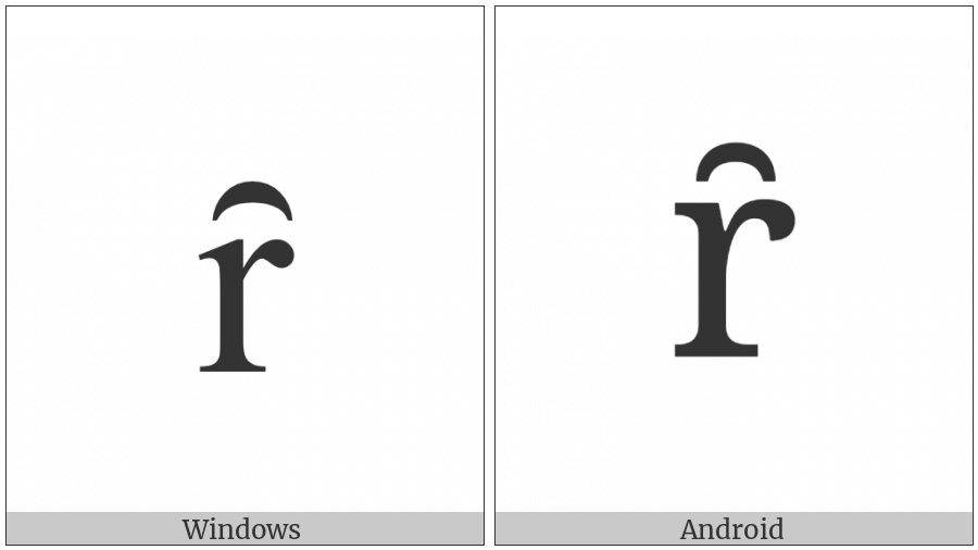 Latin Small Letter R With Inverted Breve on various operating systems