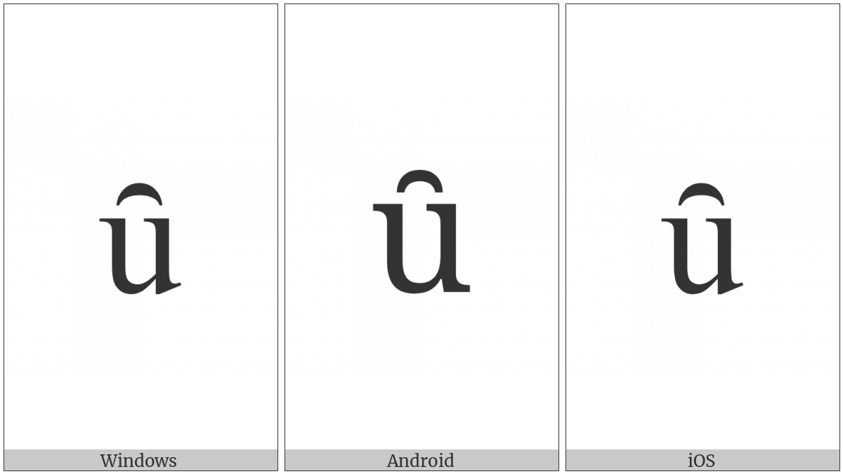 Latin Small Letter U With Inverted Breve on various operating systems
