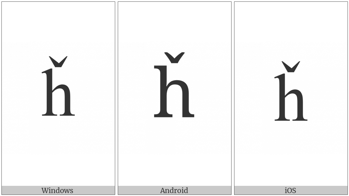 Latin Small Letter H With Caron on various operating systems