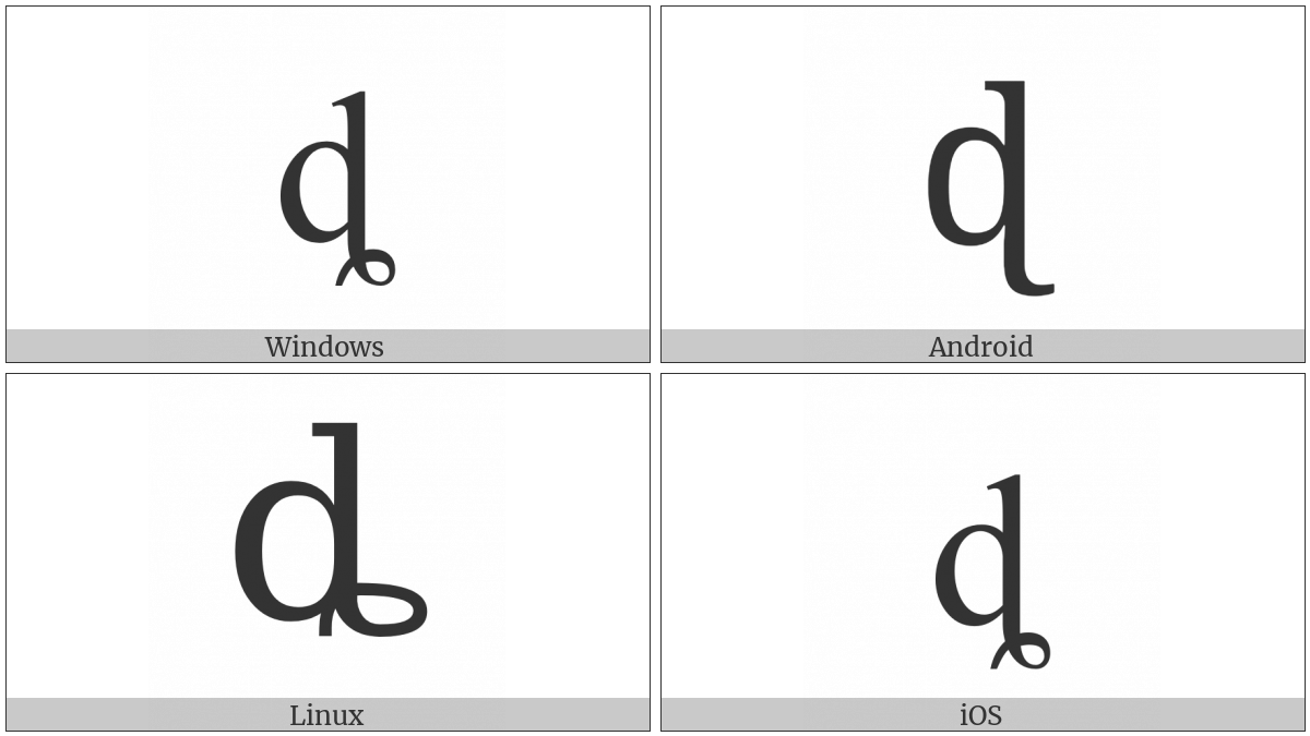 Latin Small Letter D With Curl on various operating systems