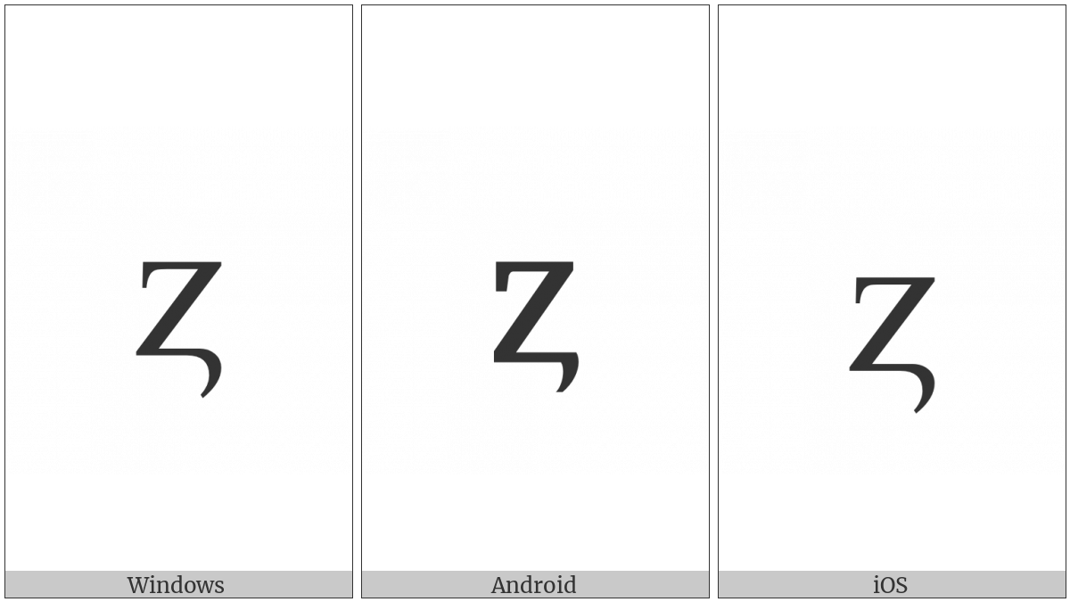 Latin Small Letter Z With Hook on various operating systems
