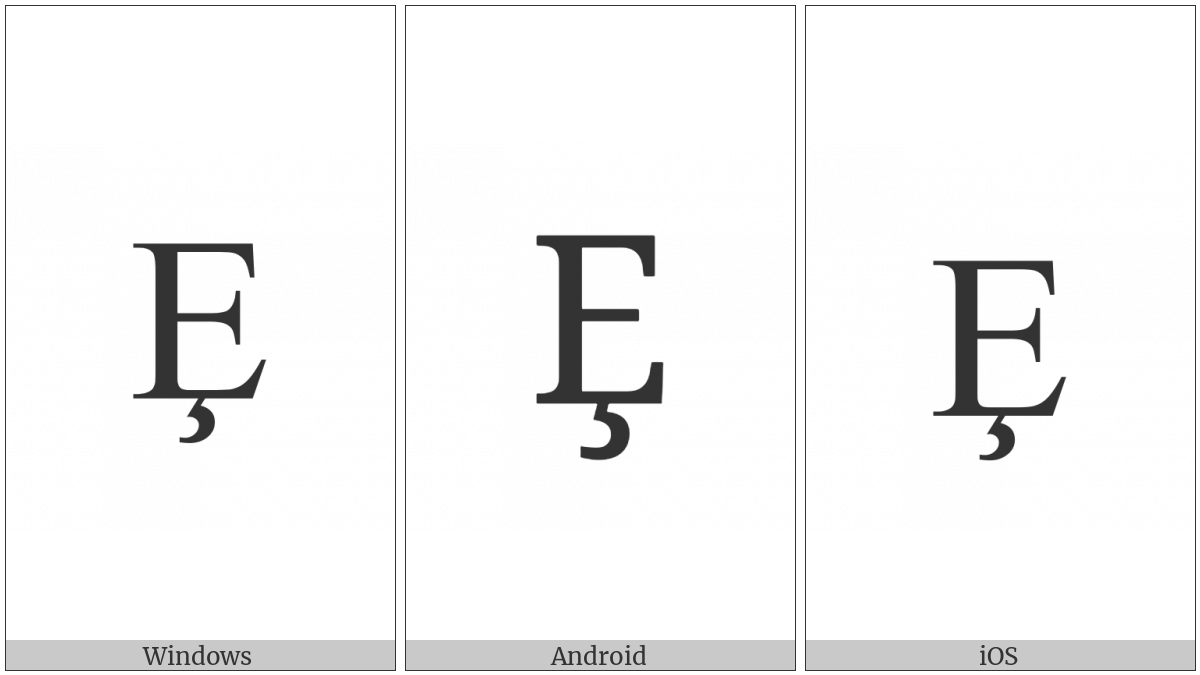 Latin Capital Letter E With Cedilla on various operating systems