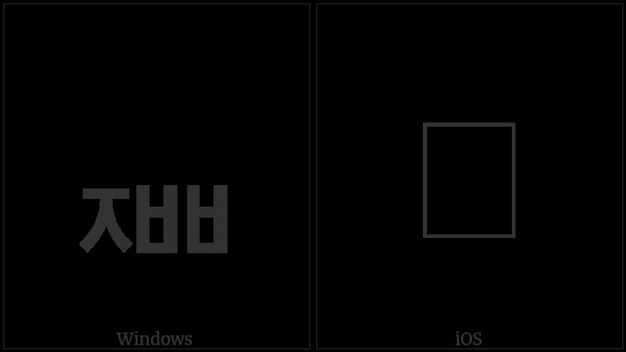 Hangul Jongseong Cieuc-Ssangpieup on various operating systems