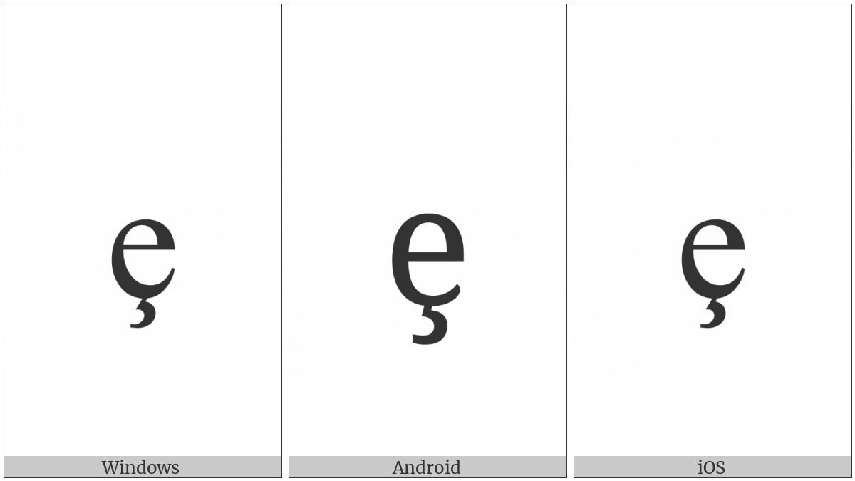 Latin Small Letter E With Cedilla on various operating systems