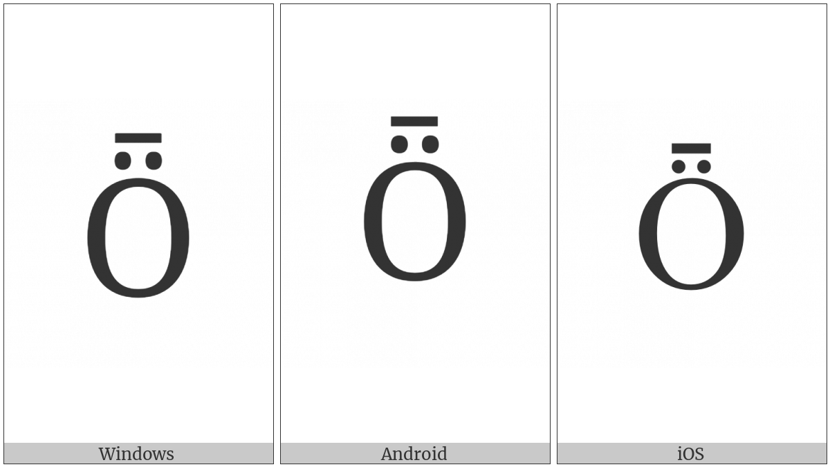 Latin Capital Letter O With Diaeresis And Macron on various operating systems