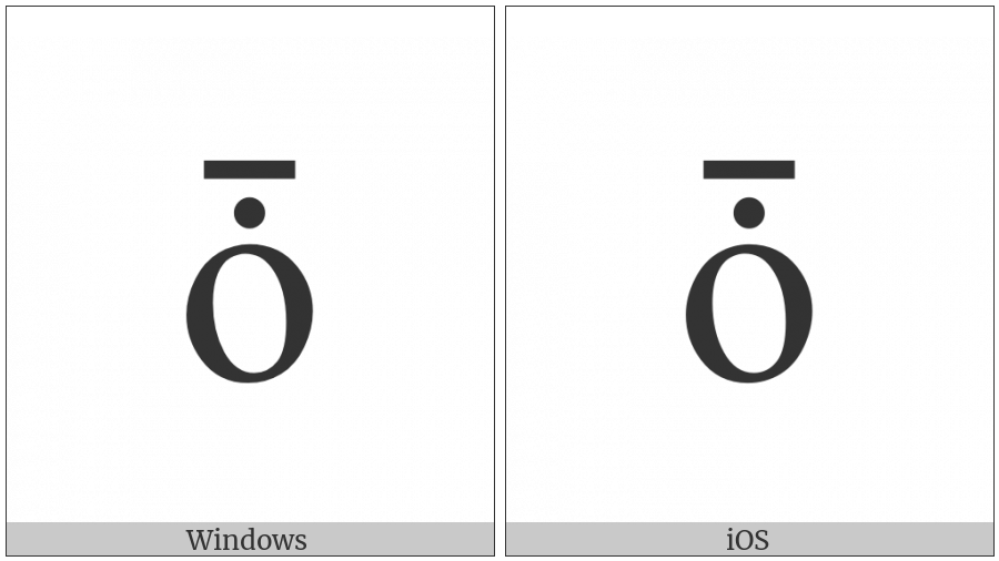 Latin Small Letter O With Dot Above And Macron on various operating systems