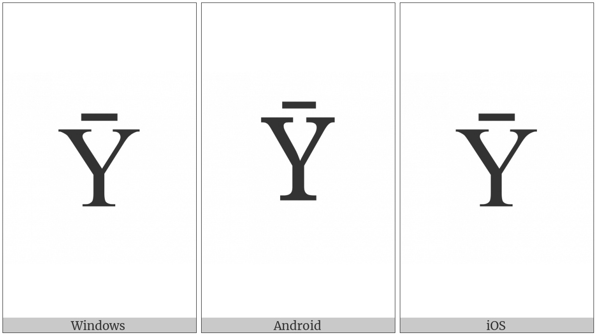 Latin Capital Letter Y With Macron on various operating systems