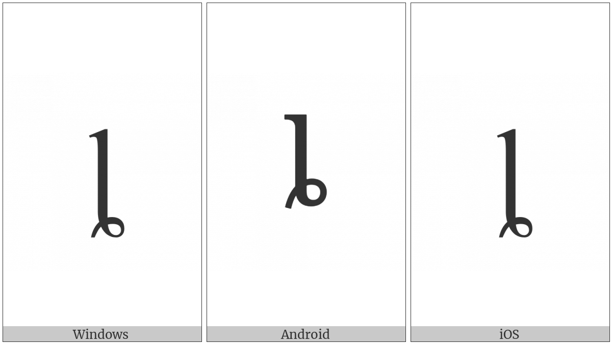 Latin Small Letter L With Curl on various operating systems