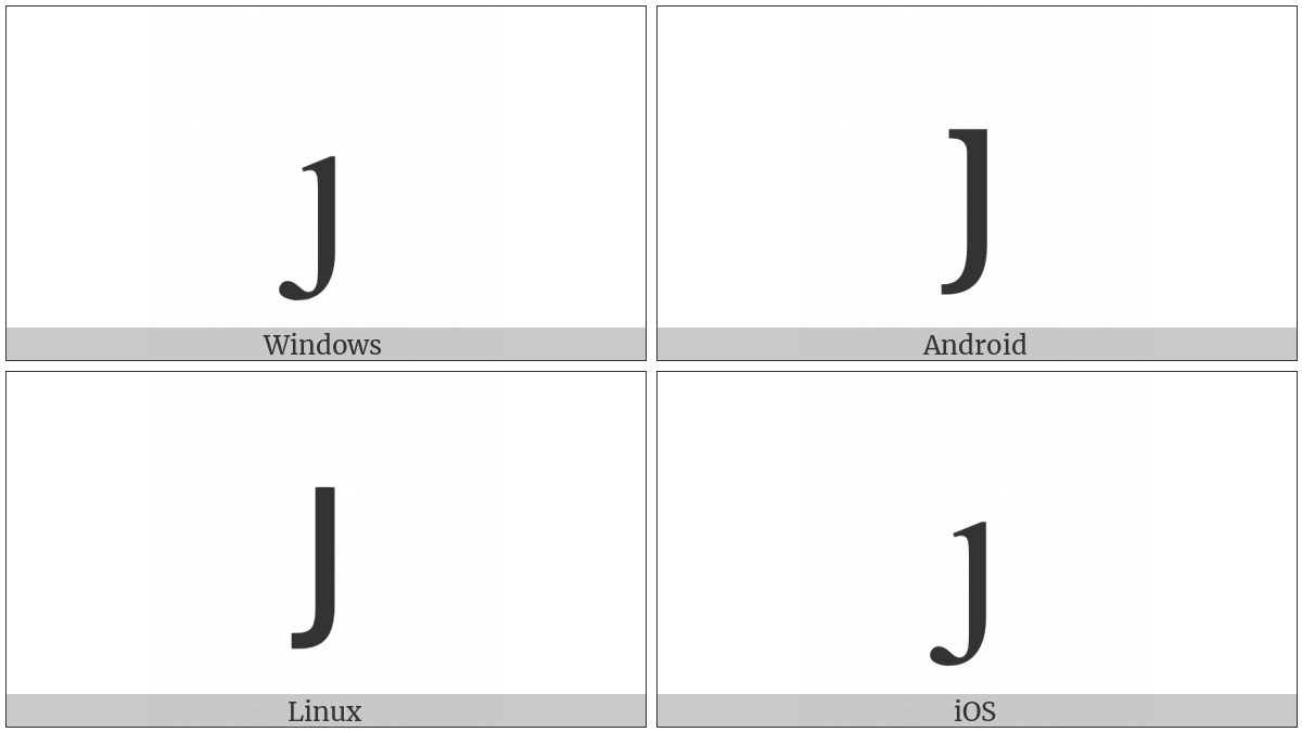Latin Small Letter Dotless J on various operating systems