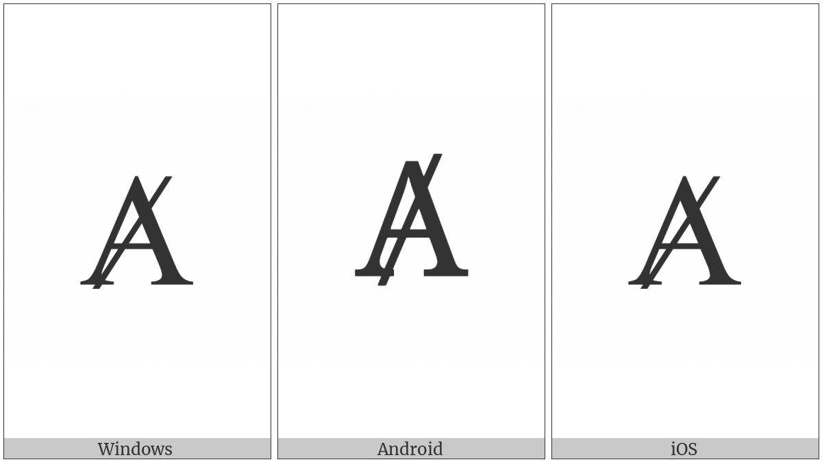 Latin Capital Letter A With Stroke on various operating systems