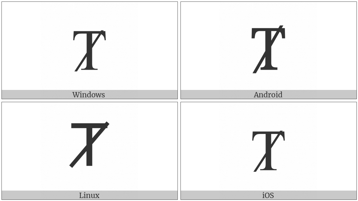 Latin Capital Letter T With Diagonal Stroke on various operating systems