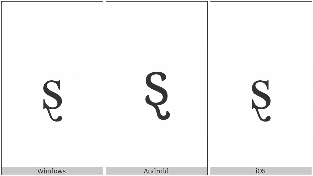 Latin Small Letter S With Swash Tail on various operating systems