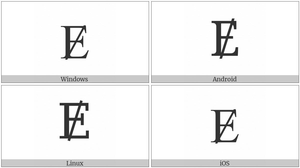 Latin Capital Letter E With Stroke on various operating systems