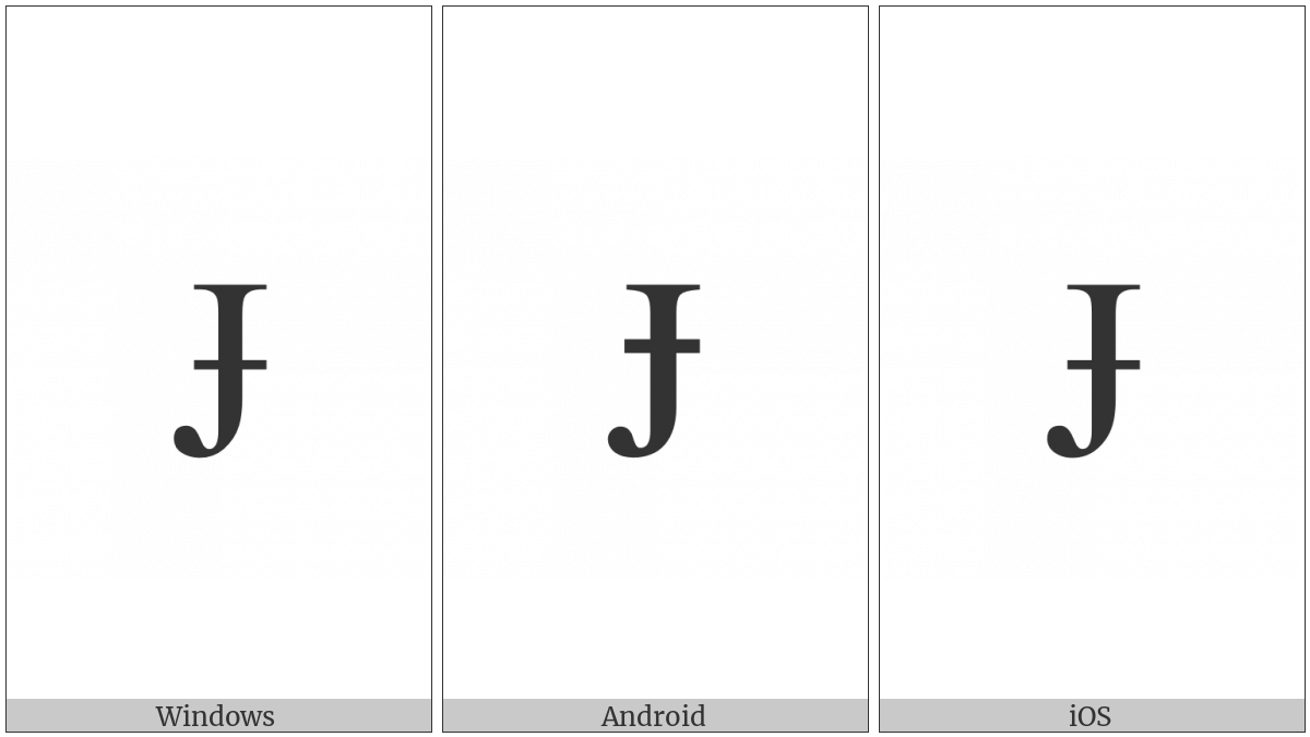 Latin Capital Letter J With Stroke on various operating systems