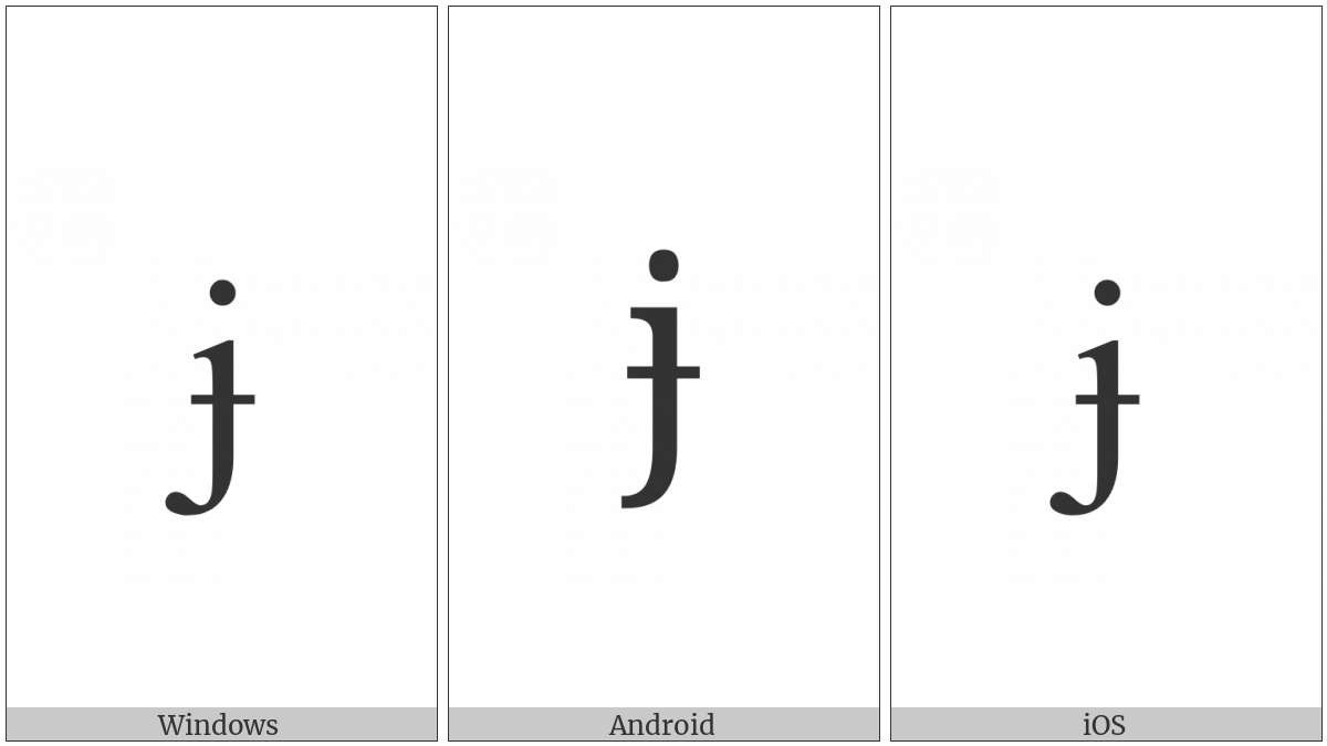 LATIN SMALL LETTER J WITH STROKE utf-8 character