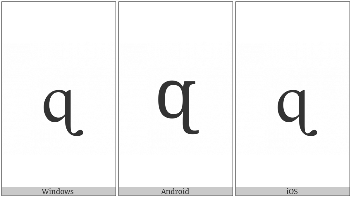 Latin Small Letter Q With Hook Tail on various operating systems