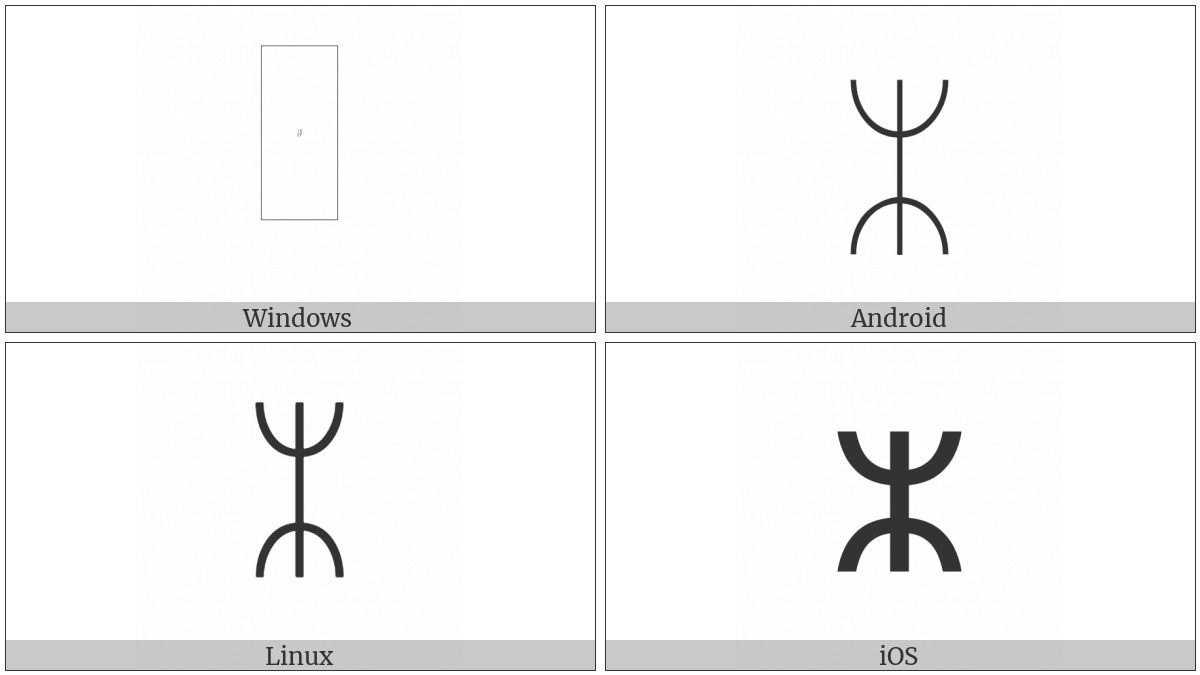 Runic Tvimadur Symbol on various operating systems