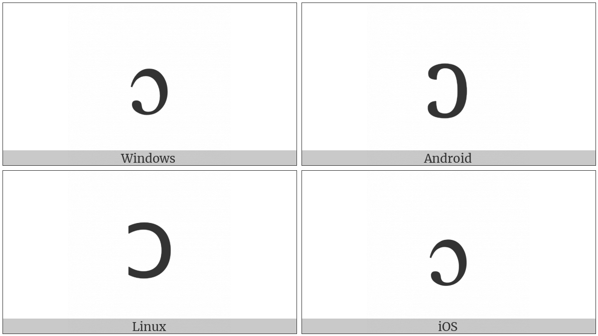 Latin Small Letter Open O on various operating systems