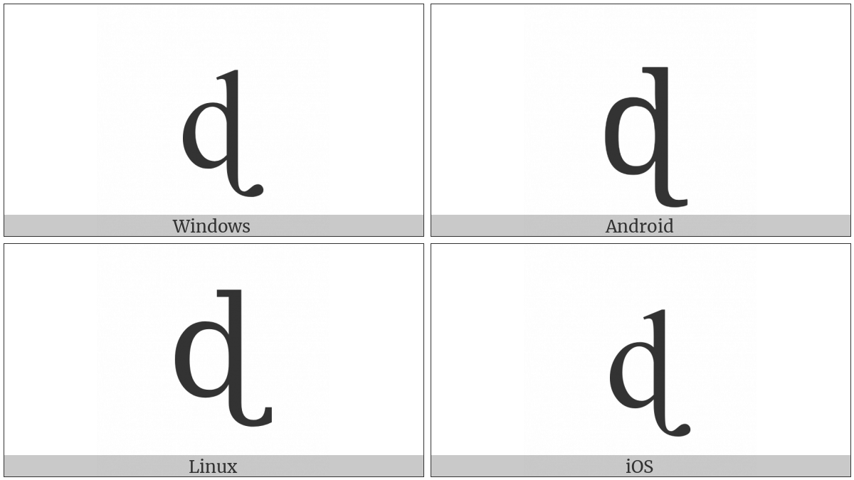 Latin Small Letter D With Tail on various operating systems