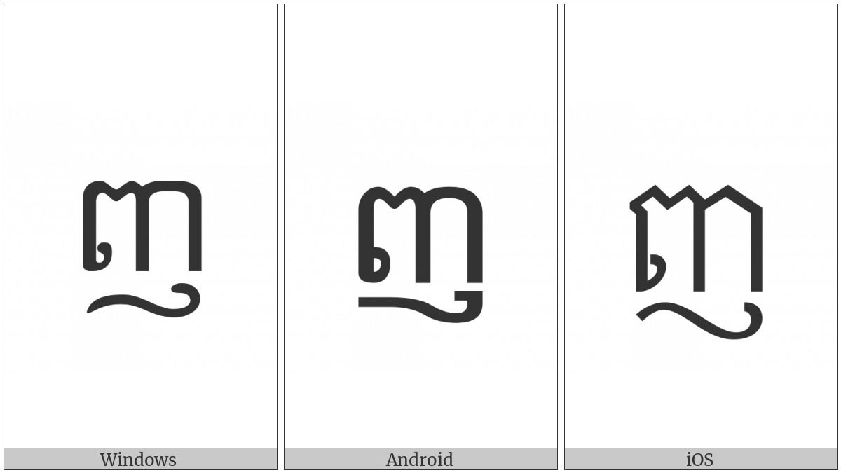 Khmer Letter Nyo on various operating systems