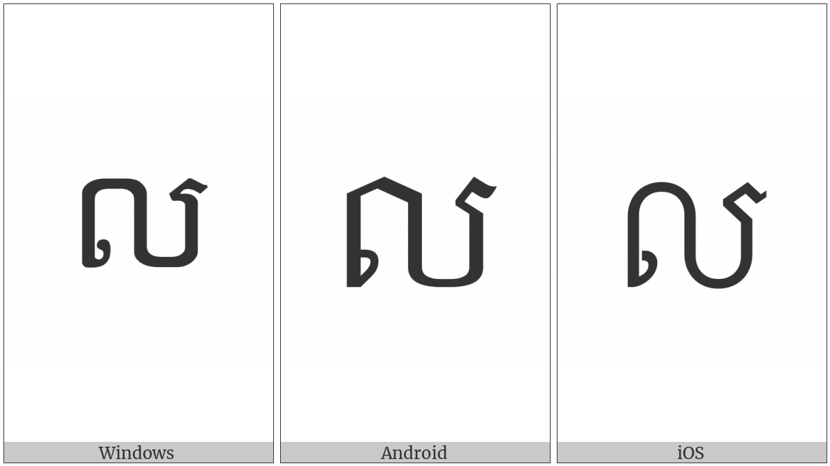 Khmer Letter Lo on various operating systems