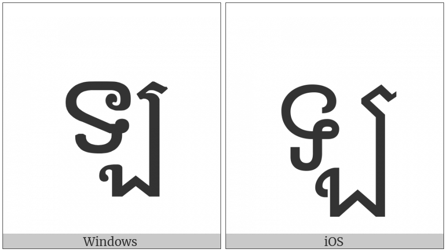 Khmer Letter La on various operating systems