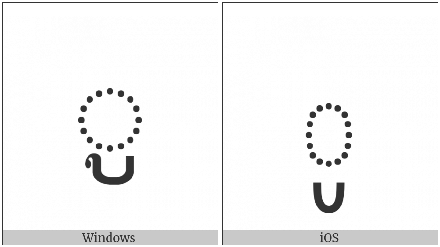 Khmer Vowel Sign Uu on various operating systems