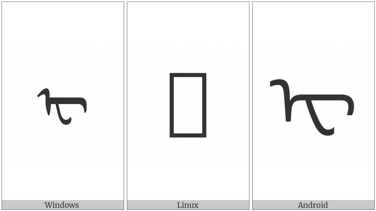 Mongolian Letter Ee on various operating systems