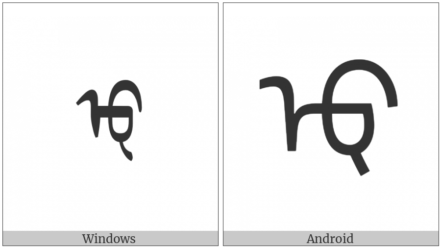 Mongolian Letter Todo U on various operating systems