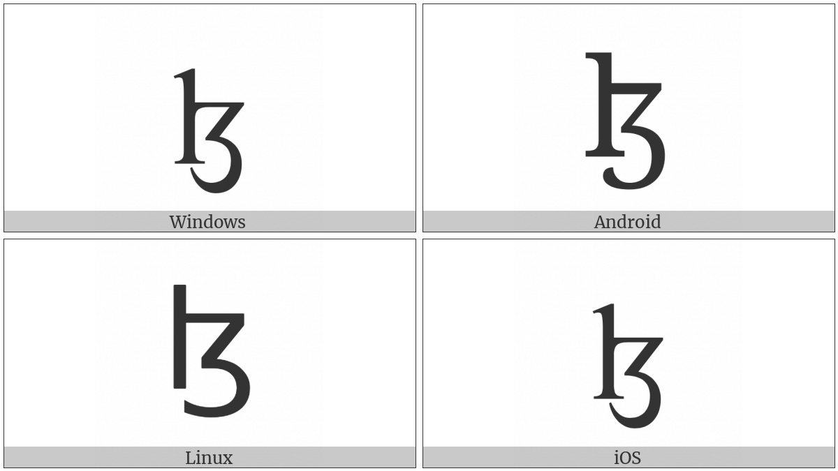 Latin Small Letter Lezh on various operating systems
