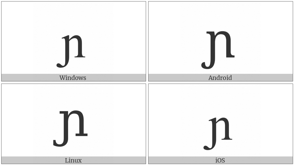 Latin Small Letter N With Left Hook on various operating systems