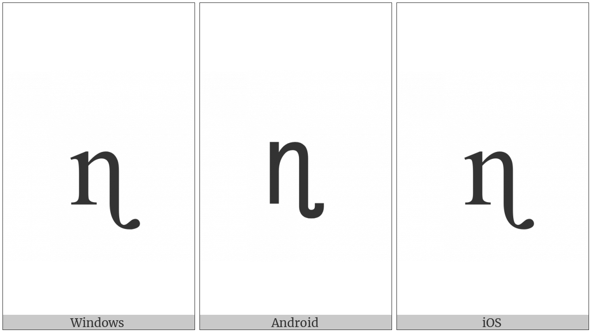 Latin Small Letter N With Retroflex Hook on various operating systems
