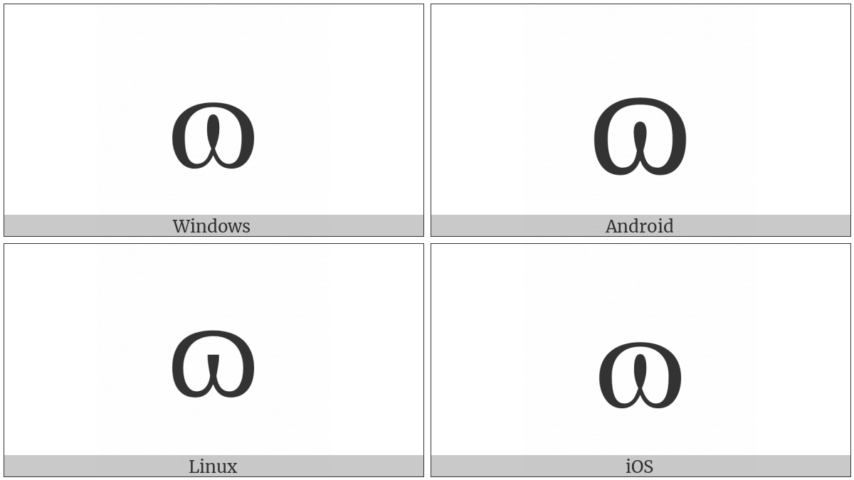 Latin Small Letter Closed Omega on various operating systems