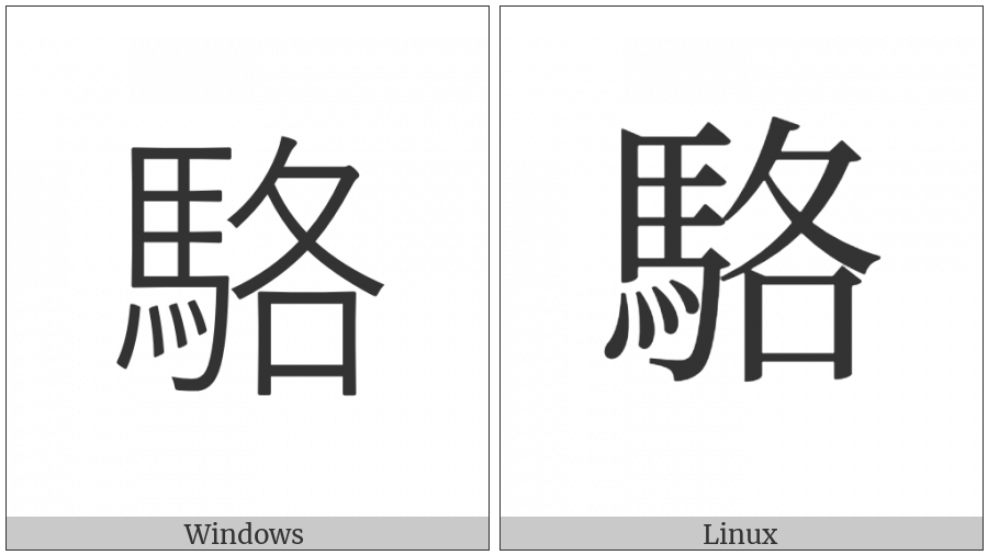 Cjk Compatibility Ideograph-F91A on various operating systems