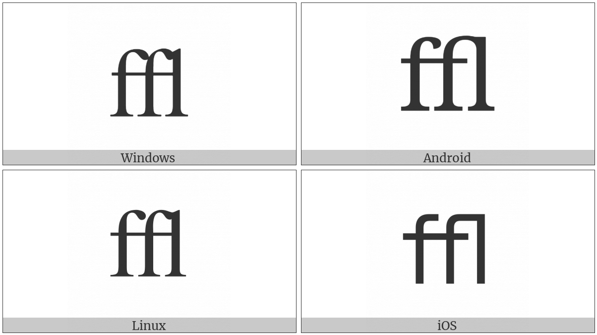 Latin Small Ligature Ffl on various operating systems