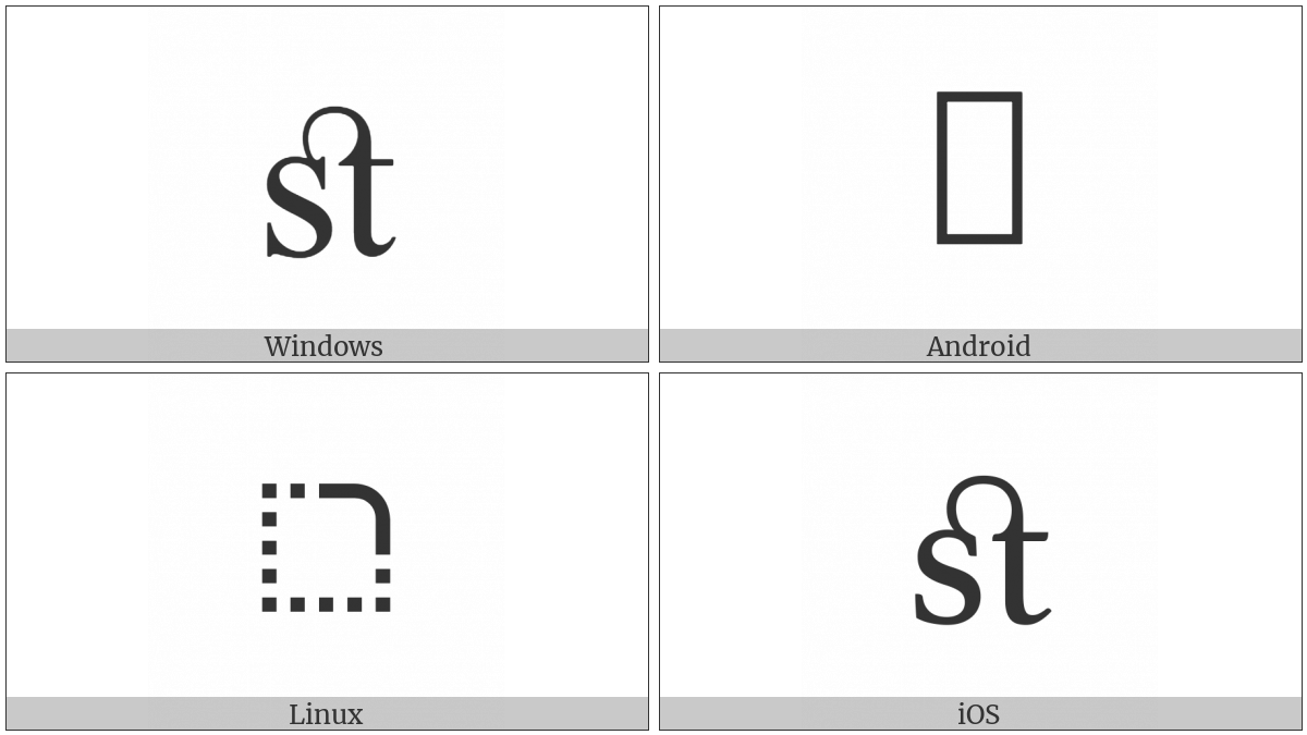 Latin Small Ligature St on various operating systems