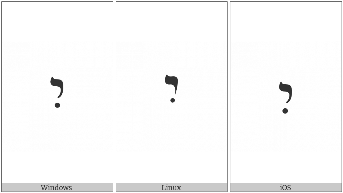 Hebrew Letter Yod With Hiriq on various operating systems