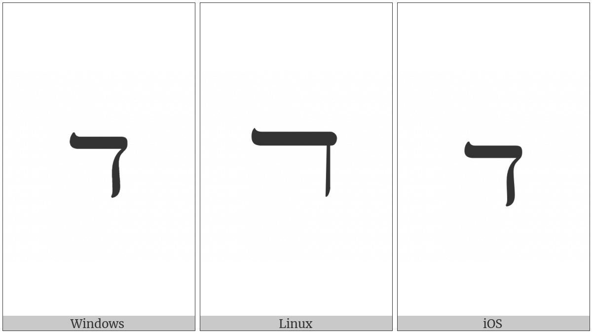 Hebrew Letter Wide Dalet on various operating systems