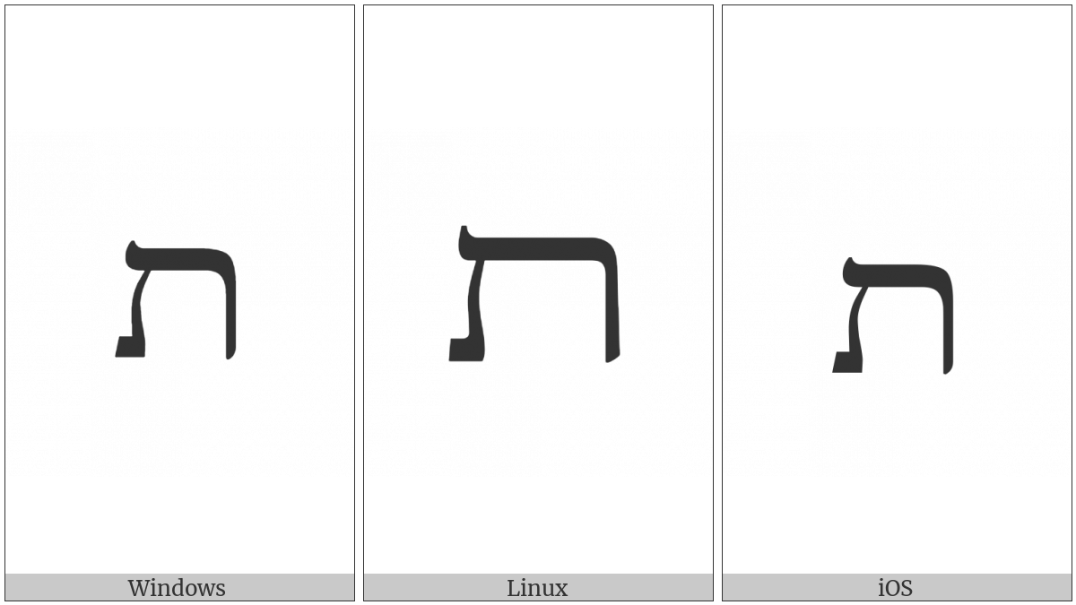Hebrew Letter Wide Tav on various operating systems