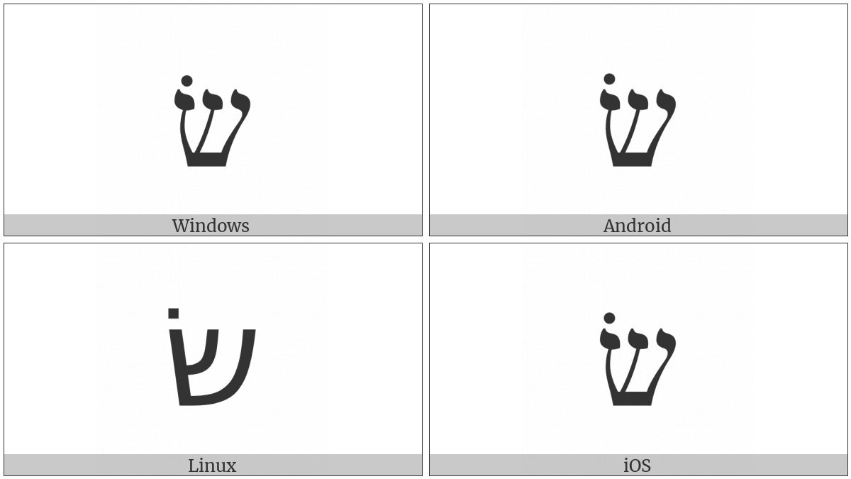 Hebrew Letter Shin With Sin Dot on various operating systems