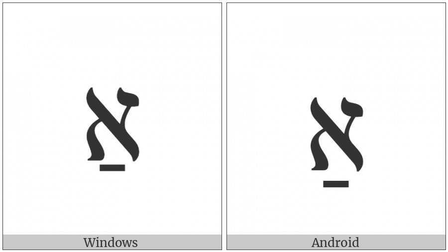 Hebrew Letter Alef With Patah on various operating systems