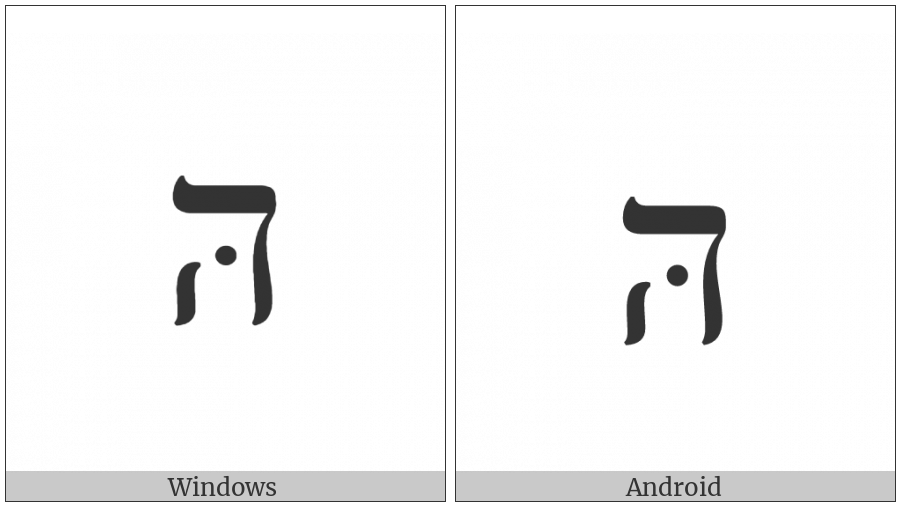 Hebrew Letter He With Mapiq on various operating systems