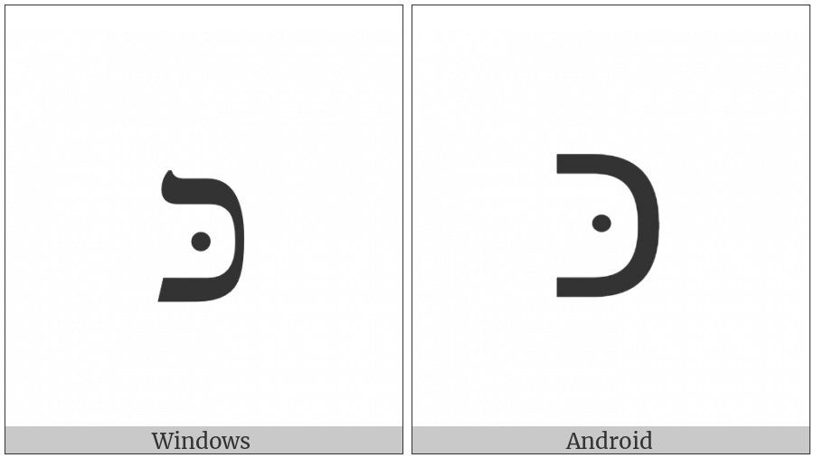Hebrew Letter Kaf With Dagesh on various operating systems
